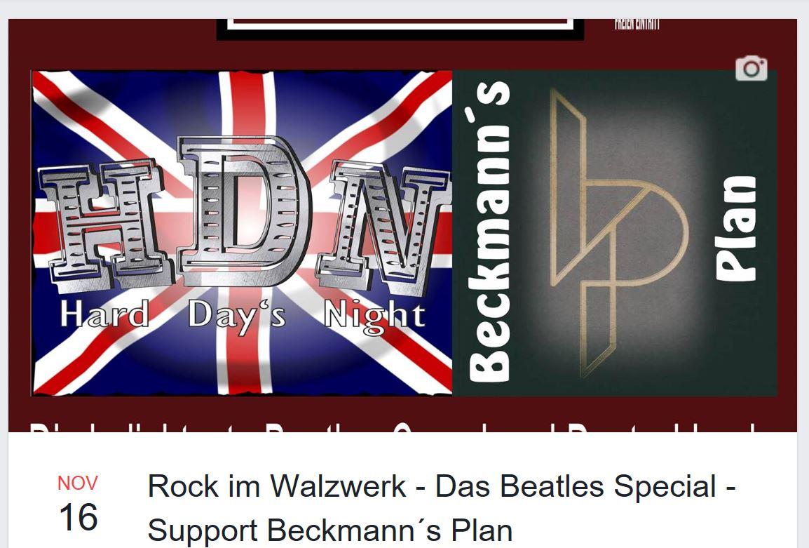 Rock im Walzwerk – Das Beatles Special – Support Beckmann´s Plan